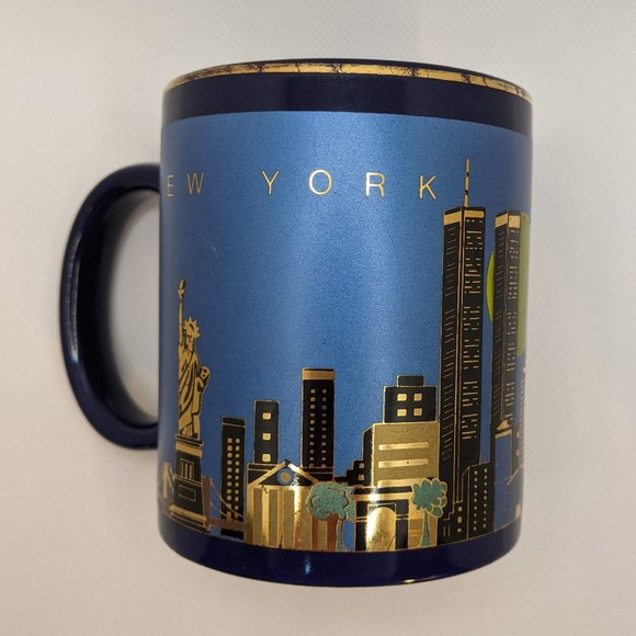 Vintage 90s Blue & Gold Mug New York City Skyline with Twin Towers